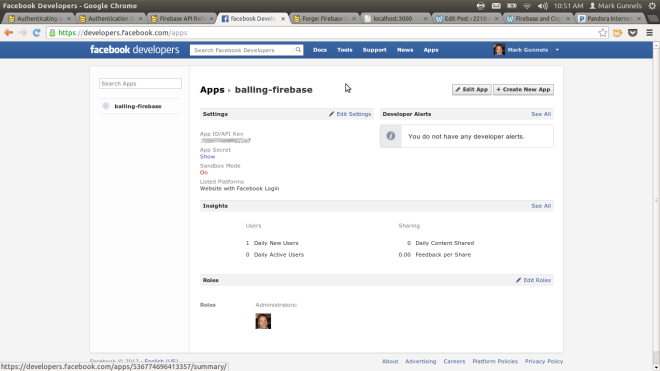 Facebook Developer Apps