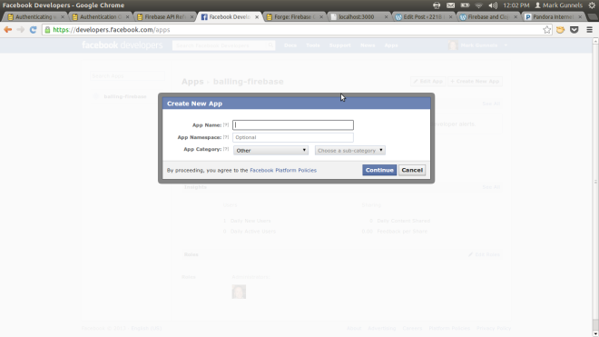 Facebook Create New App Window